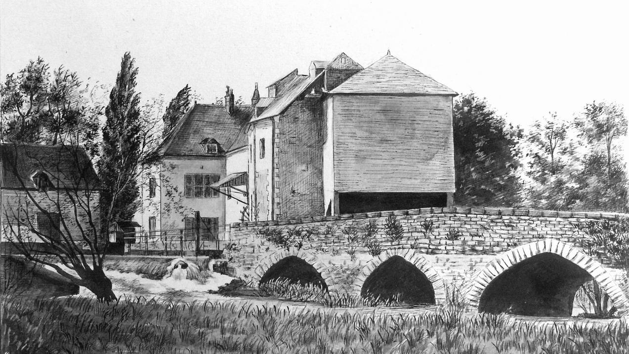 1925 - Dessin du Moulin de l'Isle Auger - Album d'Eugène à Jacqueline